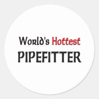 Mundos el Pipefitter más caliente Pegatina Redonda