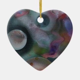 Mundos entre el cosmos adorno de cerámica en forma de corazón