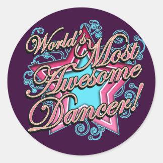Mundos la mayoría del bailarín impresionante pegatina redonda
