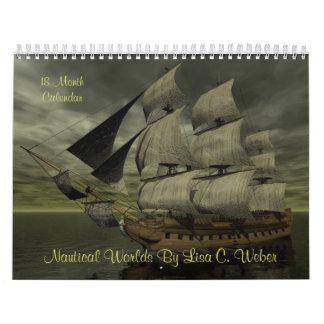 Mundos náuticos de Lisa C. Weber 18 meses, naves Calendarios