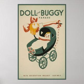 muñeca 1939 del vintage y desfile con errores póster