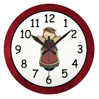Muñeca adorable del ángel del país reloj redondo grande