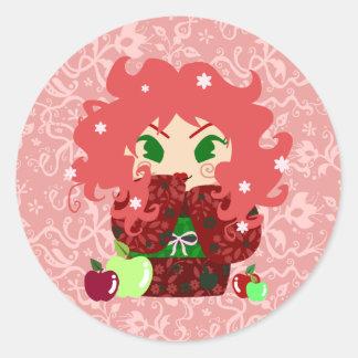 Muñeca de Apple Kokeshi Pegatina Redonda
