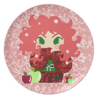 Muñeca de Apple Kokeshi Plato De Comida