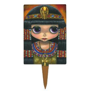 Muñeca de Cleopatra con Ankh y el casco de la serp Palillos De Tarta