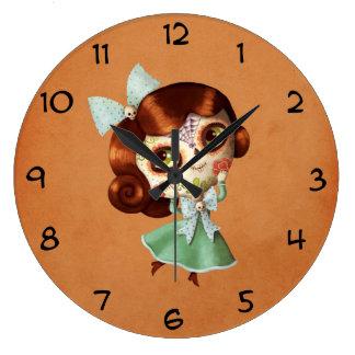 Muñeca de Dia de Los Muertos Vintage Reloj Redondo Grande