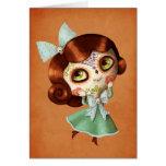 Muñeca de Dia de Los Muertos Vintage Tarjeta De Felicitación