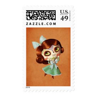 Muñeca de Dia de Los Muertos Vintage Timbre Postal