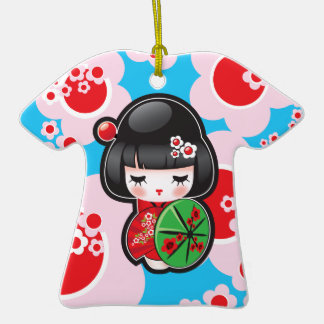 Muñeca de Kawaii Kokeshi Adorno De Cerámica En Forma De Camiseta