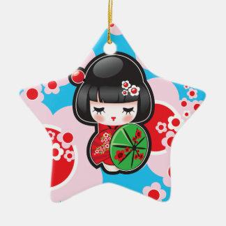 Muñeca de Kawaii Kokeshi Adorno De Cerámica En Forma De Estrella