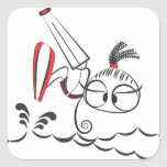Muñeca de Kitesurfing Pegatina Cuadrada