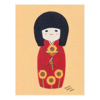 Muñeca de Kokeshi con el girasol Tarjeta Postal