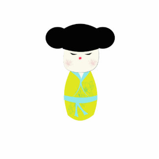 Muñeca de Kokeshi con el kimono amarillo Escultura Fotografica