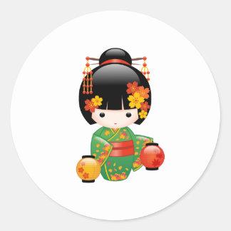 Muñeca de Kokeshi de la caída - chica de geisha Pegatina Redonda