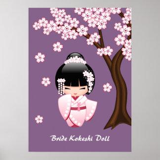 Muñeca de Kokeshi de la novia - chica de geisha Póster