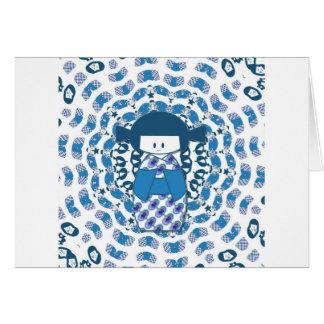 Muñeca de Kokeshi del japonés, azul Tarjeta De Felicitación