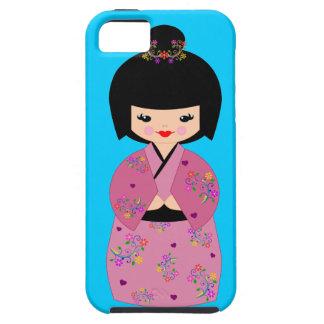 Muñeca de Kokeshi en un kimono floral en la caja a iPhone 5 Protector