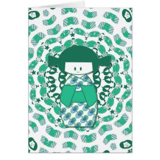 Muñeca de Kokeshi, verde Tarjeta De Felicitación