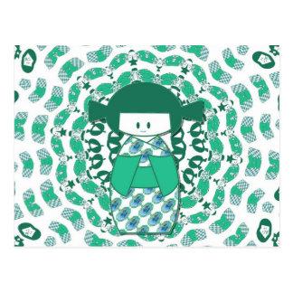 Muñeca de Kokeshi, verde Postal