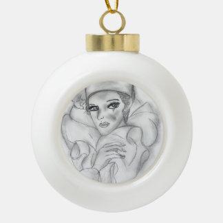 Muñeca de la aleta adorno de cerámica en forma de bola