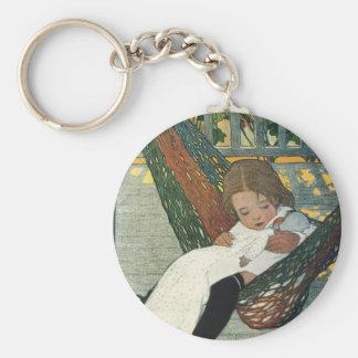 Muñeca de la hamaca del niño del vintage; Jessie Llavero Redondo Tipo Pin