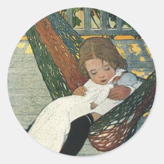 Muñeca de la hamaca del niño del vintage; Jessie Etiqueta Redonda