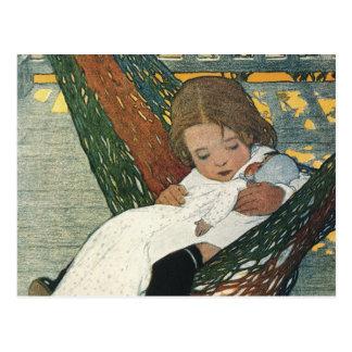 Muñeca de la hamaca del niño del vintage; Jessie W Tarjeta Postal