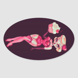 Muñeca de la magdalena calcomania ovalada