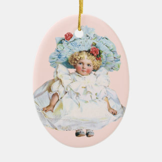 Muñeca de la niña del vintage, vestido de Pascua y Ornamentos Para Reyes Magos
