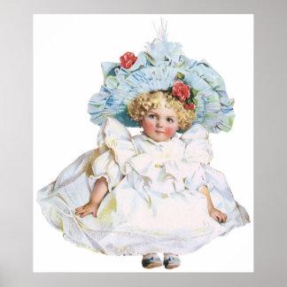 Muñeca de la niña del vintage, vestido de Pascua y Póster