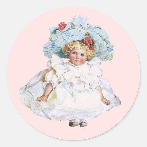 Muñeca de la niña del vintage, vestido de Pascua y Pegatina Redonda