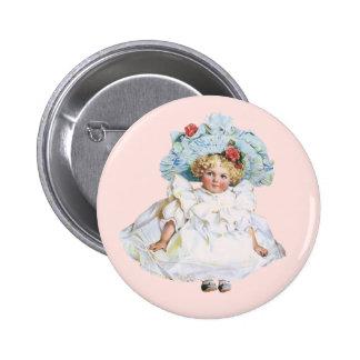 Muñeca de la niña del vintage, vestido de Pascua y Pins