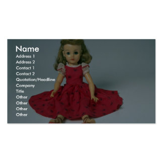 Muñeca de la niña vestida en rojo tarjetas de visita