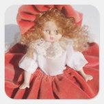 muñeca de la porcelana pegatinas cuadradas