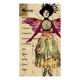 Muñeca de las técnicas mixtas con las alas rosadas tarjetas de visita