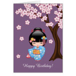Muñeca de Maiko Kokeshi - chica de geisha azul del Tarjeta De Felicitación