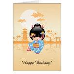 Muñeca de Maiko Kokeshi - chica de geisha japonés Tarjeta De Felicitación