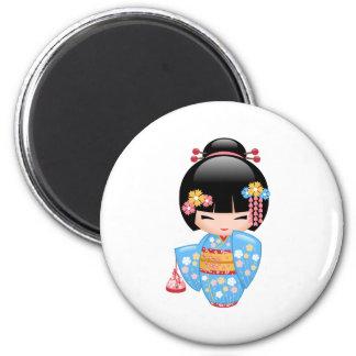 Muñeca de Maiko Kokeshi del japonés Imán Redondo 5 Cm