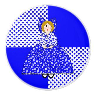 Muñeca de Maria con el fondo azul del lunar Pomo De Cerámica