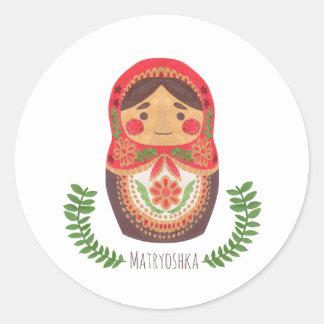 Muñeca de Matryoshka Pegatina Redonda