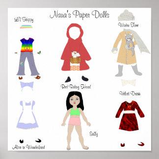 Muñeca de papel con 5 equipos impresiones