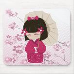 Muñeca de Sakura Kokeshi Alfombrilla De Ratones