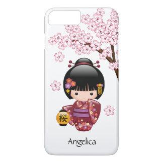 Muñeca de Sakura Kokeshi - chica de geisha japonés Funda iPhone 7 Plus