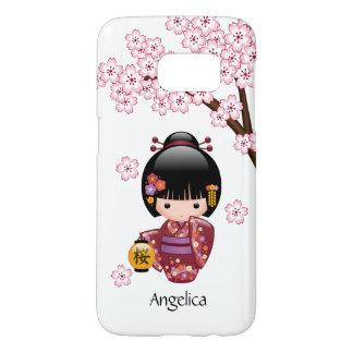 Muñeca de Sakura Kokeshi - chica de geisha japonés Funda Samsung Galaxy S7