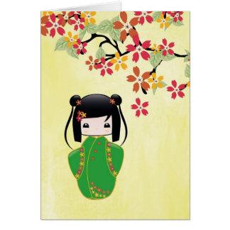 Muñeca de Sakura Kokeshi, tarjeta de felicitación