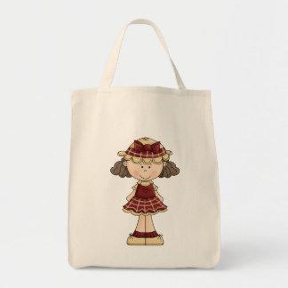 Muñeca de trapo adorable del país bolsas de mano