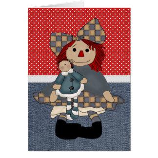 Muñeca de trapo adorable del país tarjeta de felicitación