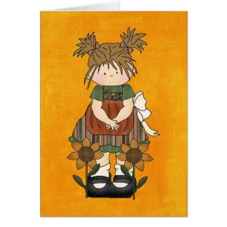 Muñeca de trapo adorable del país tarjeta pequeña