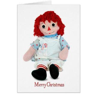 Muñeca de trapo del navidad tarjeta de felicitación