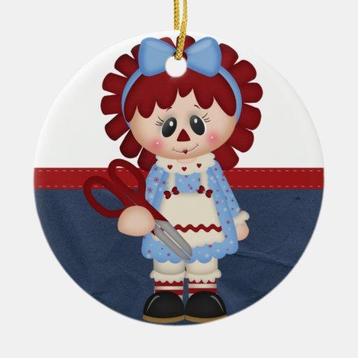 Muñeca de trapo femenina de costura retra adorno redondo de cerámica
